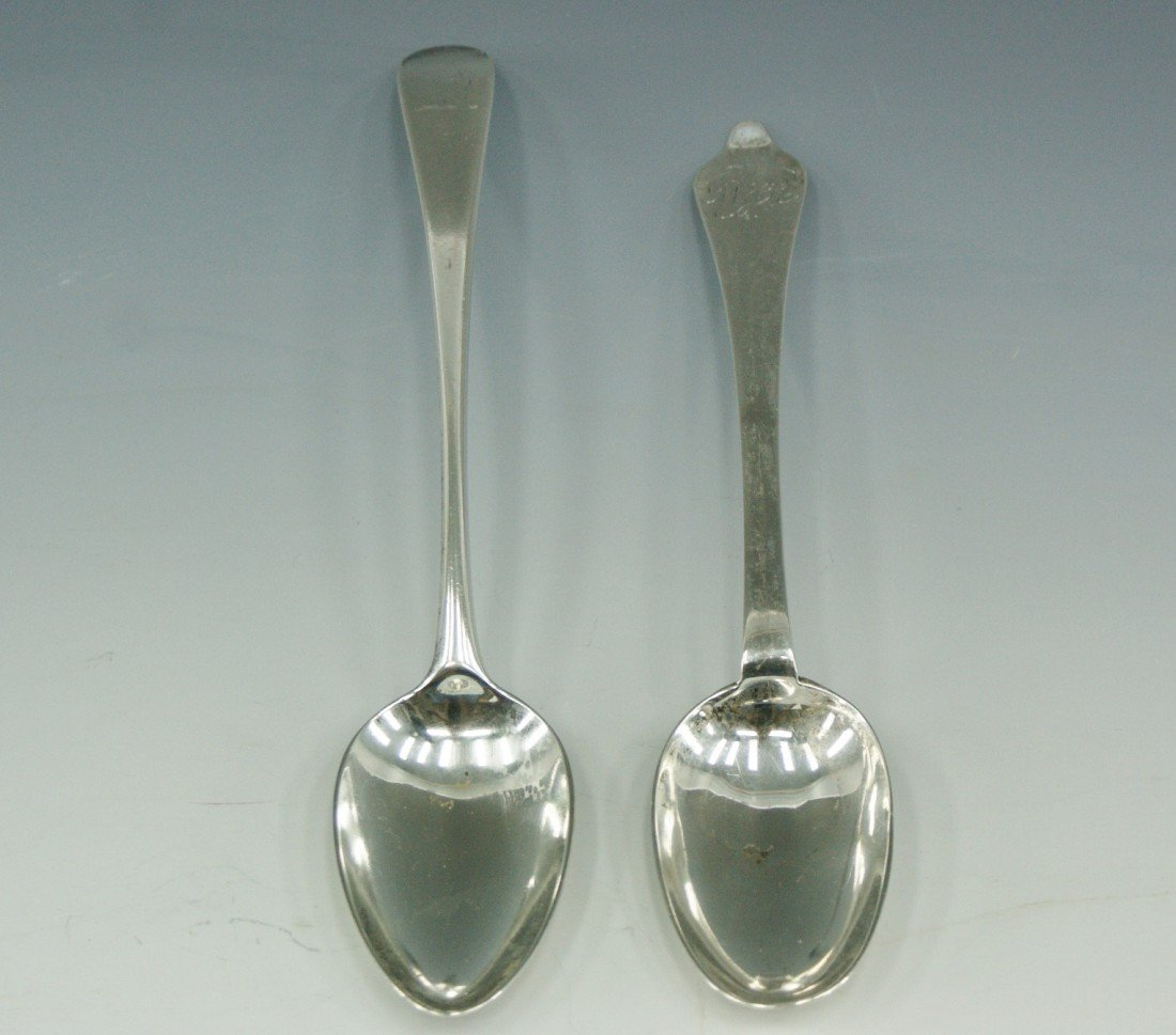 98: TWO SILVER SERVING SPOONS CIRCA 1800