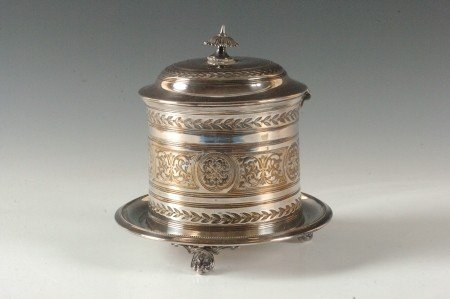 100: SILVER PLATED BISCUIT BARREL