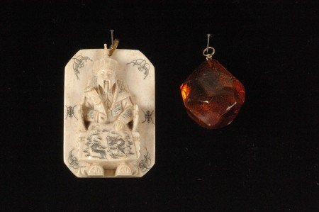 101: CARVED IVORY PENDANT WITH NATURAL AMBER PENDANT