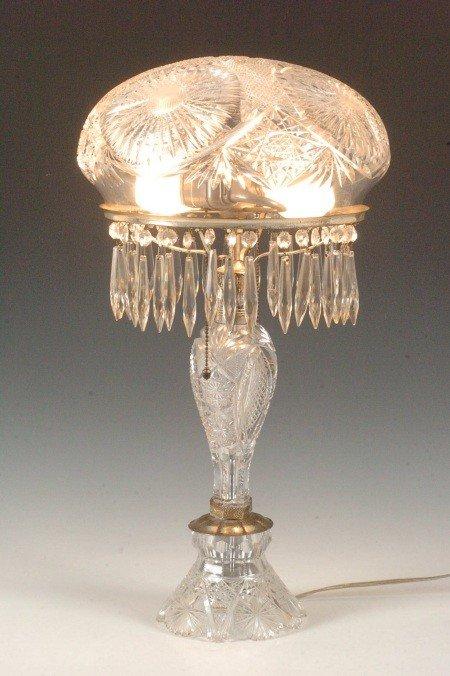 293: AMERICAN BRILLIANT PERIOD CUT GLASS LAMP W/ MUSHRO