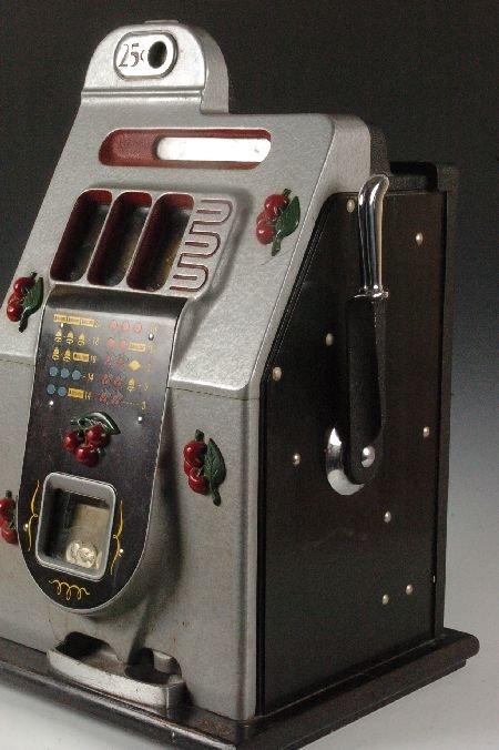 MILLS BLACK CHERRY 25 CENT SLOT MACHINE, ORIGINAL & NIC - 6