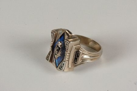 10K HIGH SCHOOL 1966 CLASS RING WITH BLUE STONE
