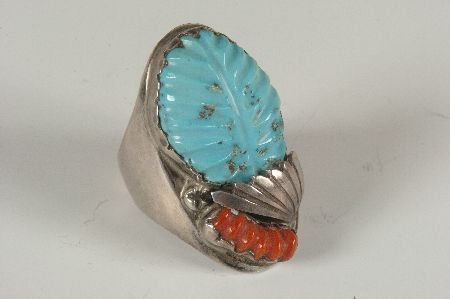 SIGNED ZUNI STERLING SILVER RING W TURQUOISE & CORAL