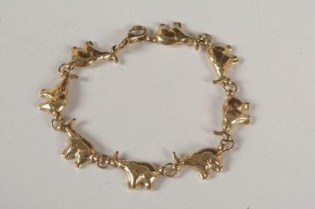 14KT YELLOW GOLD SOLID ELEPHANT BRACELET