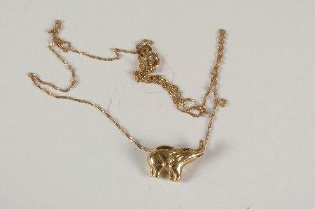 18K YELLOW GOLD CHAIN W ELEPHANT CHARM