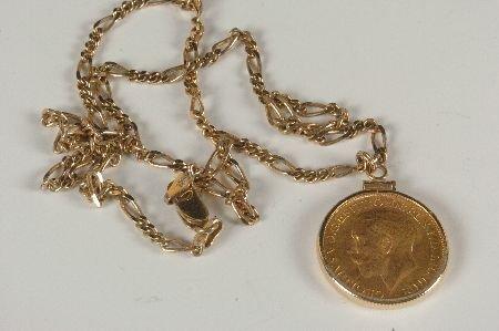 14K GOLD BEZEL AND COIN 1926 GEORGVIS V D BRITT OMN REX