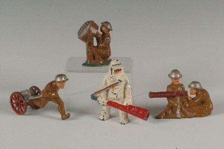 FOUR MANOIL SLUSH CAST WWI TOY SOLDIERS