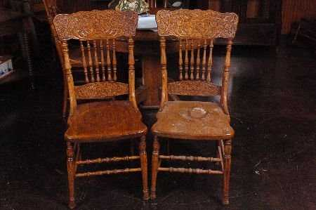 - SET FIVE ANTIQUE OAK PRESSED BACK CHAIRS WITH NORTHWIND