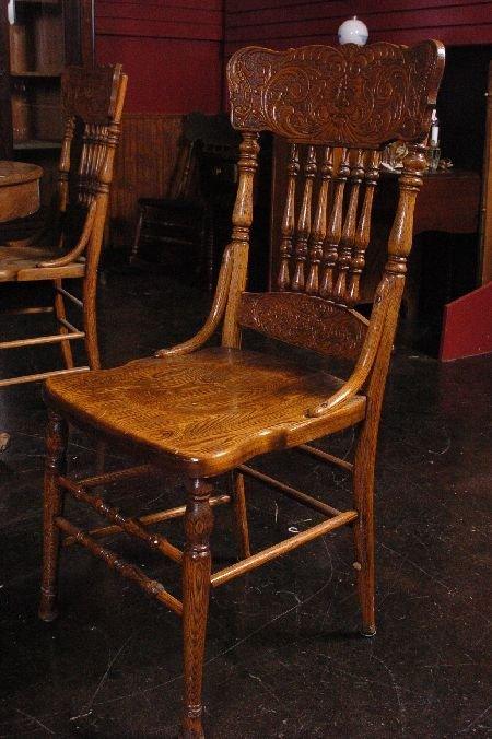 SET FIVE ANTIQUE OAK PRESSED BACK CHAIRS WITH NORTHWIND - 5