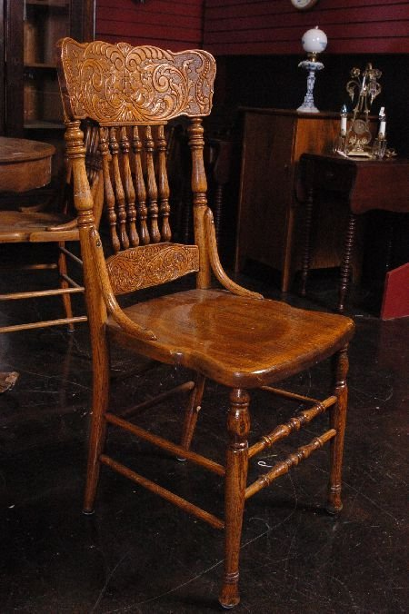 SET FIVE ANTIQUE OAK PRESSED BACK CHAIRS WITH NORTHWIND - 6