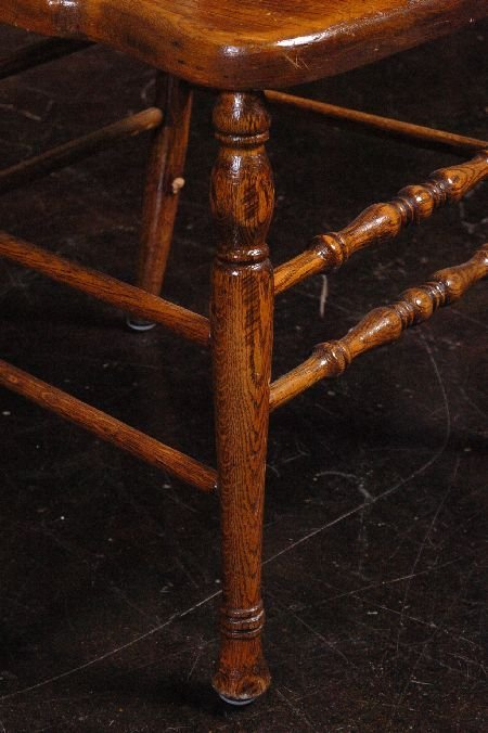 SET FIVE ANTIQUE OAK PRESSED BACK CHAIRS WITH NORTHWIND - 7