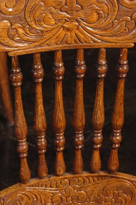 SET FIVE ANTIQUE OAK PRESSED BACK CHAIRS WITH NORTHWIND - 9