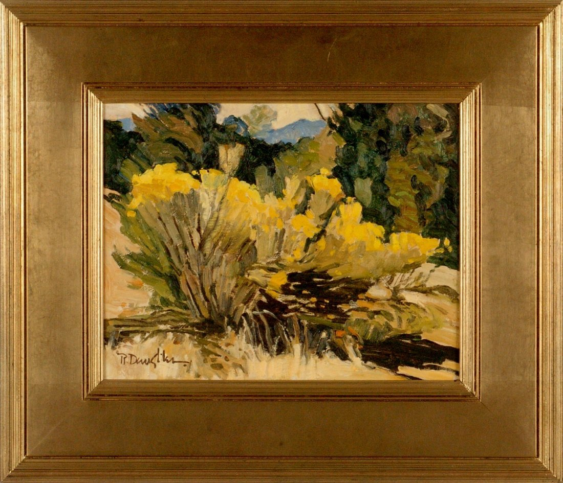 ROBERT DAUGHTERS  (1929 - ) SANTA FE OIL ON CANVAS