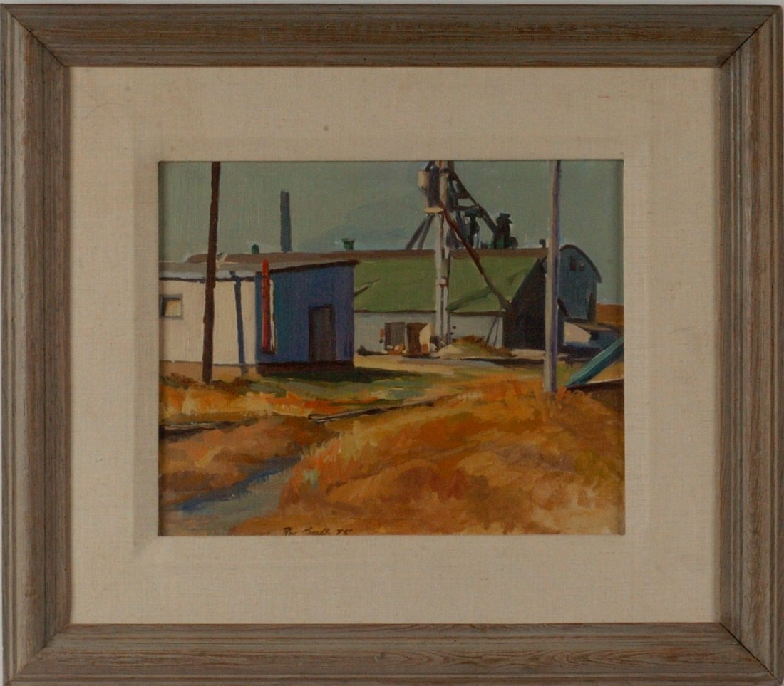 *RON GRAFF INDUSTRIAL SCENE OIL ON PANEL