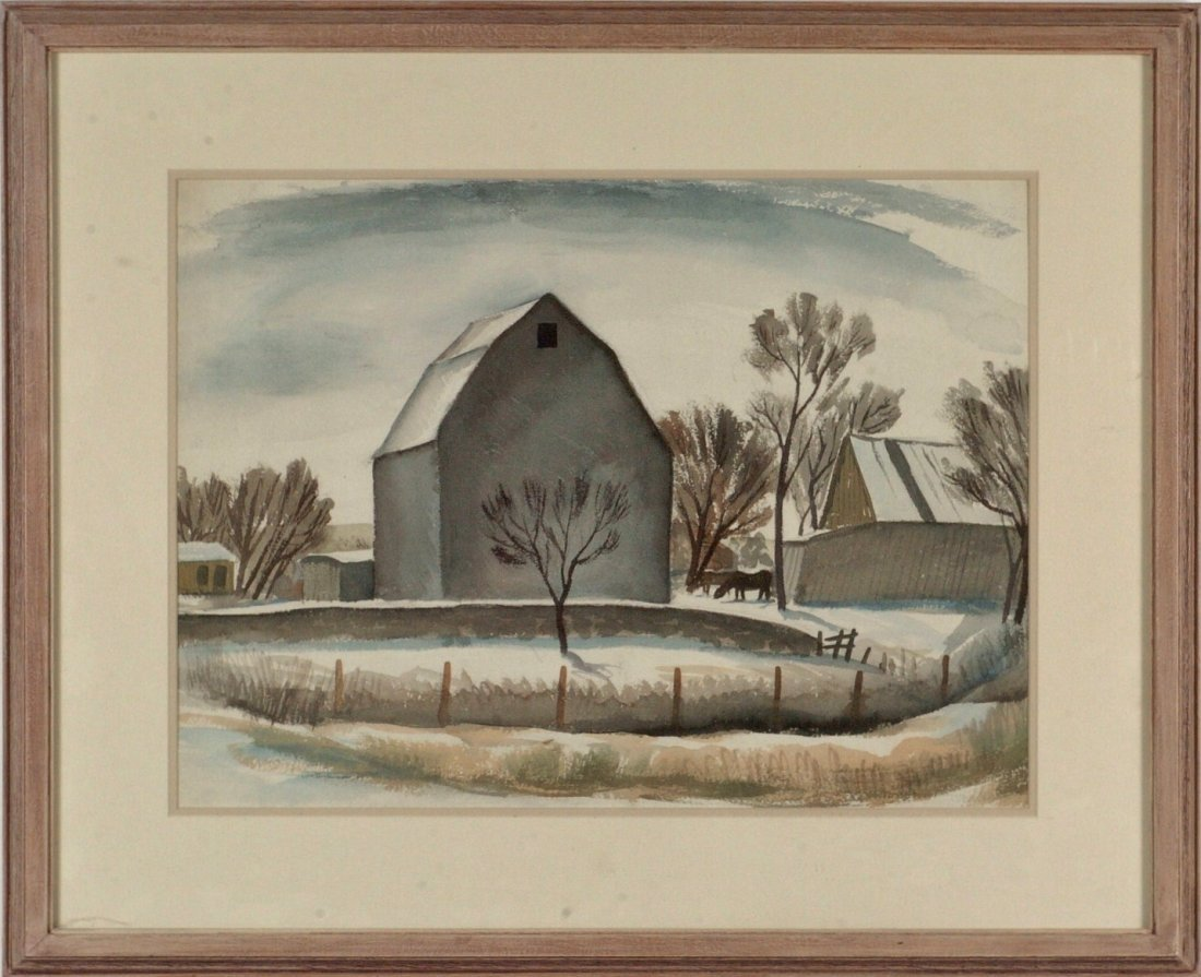 WILLIAM DICKERSON  (1904 - 1972) WATERCOLOR 1939