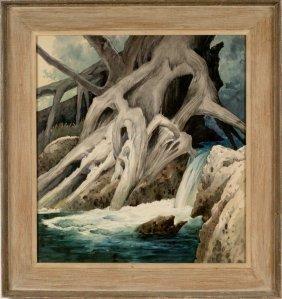 MARIO LARRINAGA (1895 - 1979 CALIFORNIA) WATERCOLOR ON