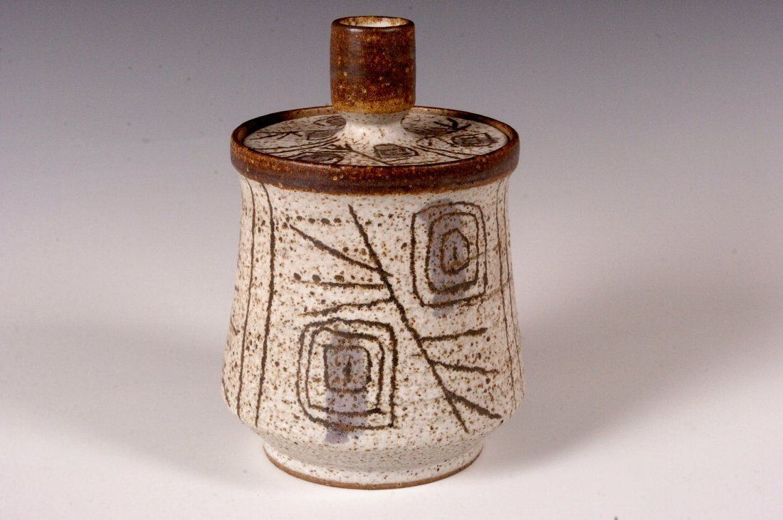 STUDIO POTTERY COVERED JAR SIGNED WHITE