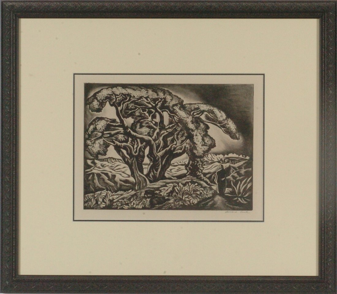 HOWARD COOK (1901 - 1980) PENCIL SIGNED AQUATINT ETCHIN