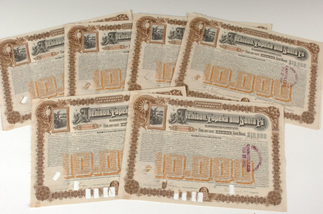Twenty-One AT&SF RR $10,000 Gold Bond Certificates, 189