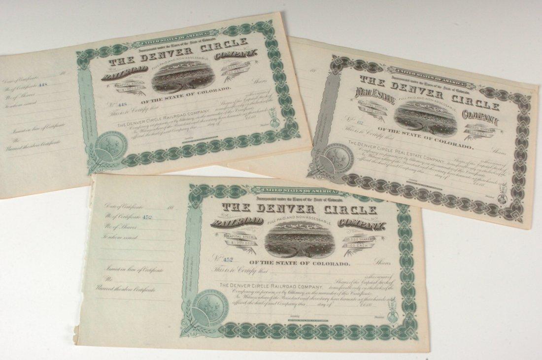 Twelve Unused Denver Circle Railroad Stock Shares, 1880
