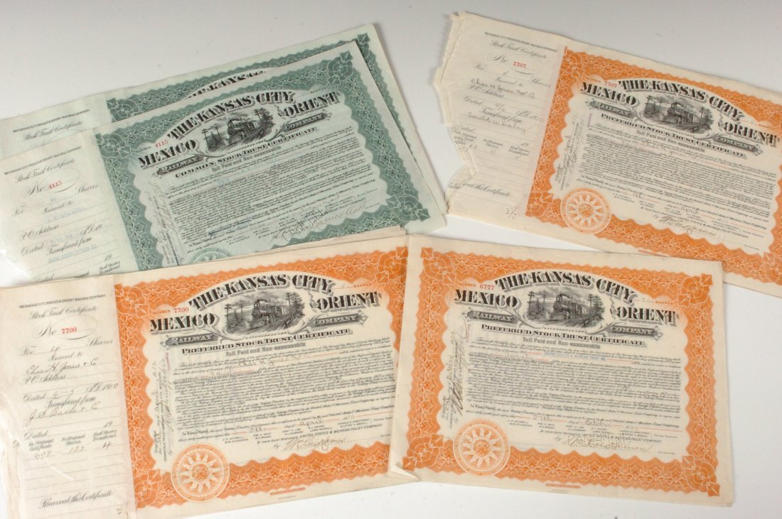Twenty-Six Kansas City, Mexico & Orient RR Stocks, 1900