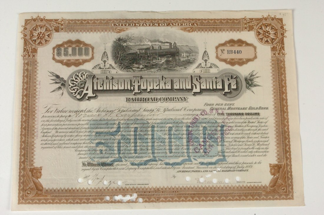 AT&SF RR $5000 Mortgage Gold Bond, 1890