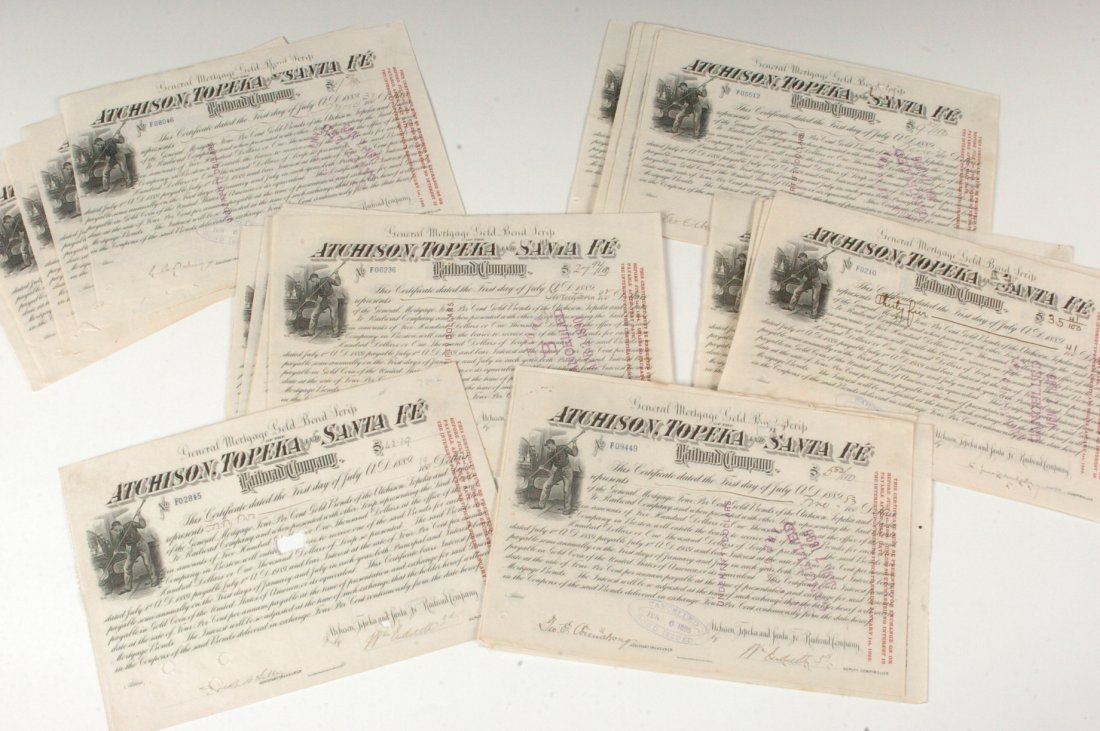Forty-Five AT&SF RR Gold Bond Scrip Certificates, 1890