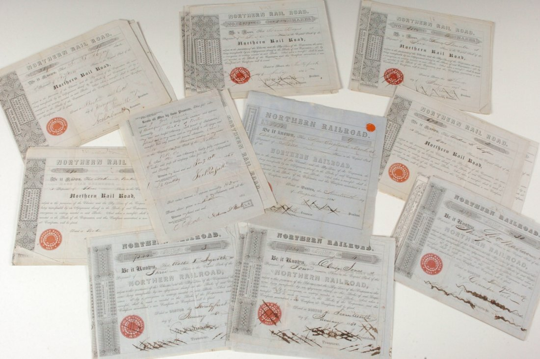 Sixty-Nine Northern Railroad Share Certificates, 1840-1