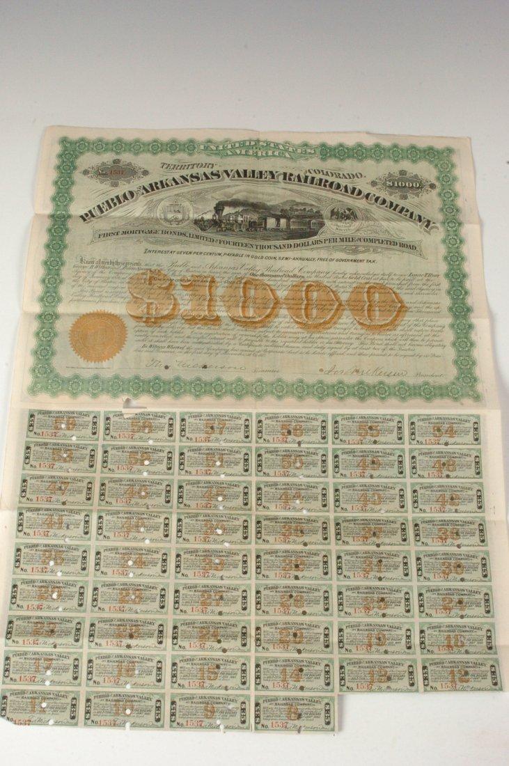 Pueblo & Arkansas Valley RR Co. $1000 Bond, 1876