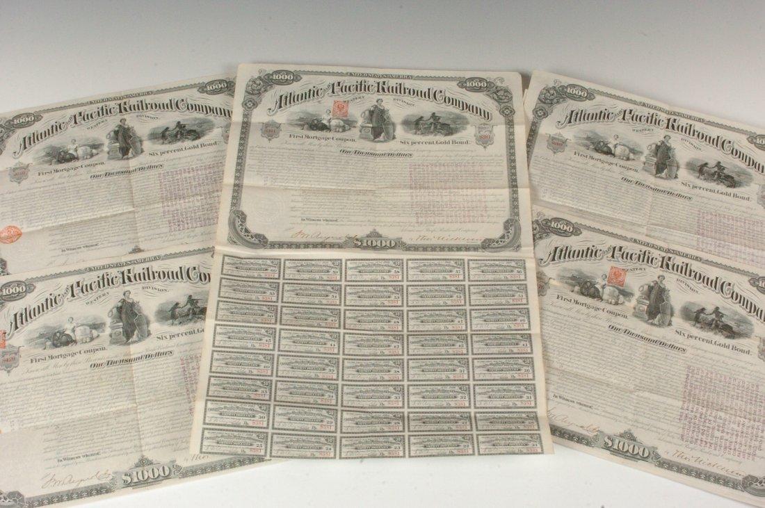 Five Atlantic & Pacific Railroad Co. $1000 Bonds, 1866