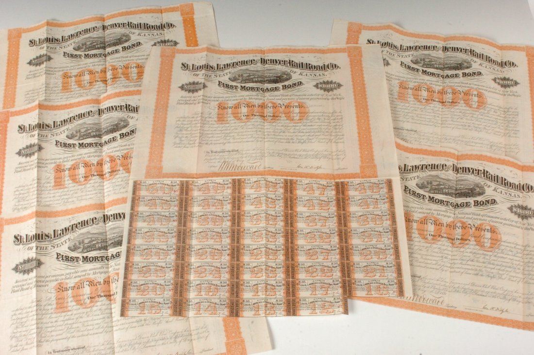 Six St. Louis Lawrence & Denver RR Co. Bonds, 1870