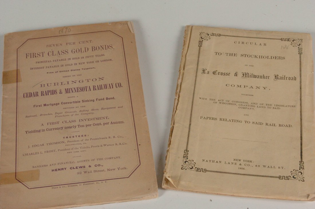Railroad Circular and Gold Bond Prospectus, 1856 and 18
