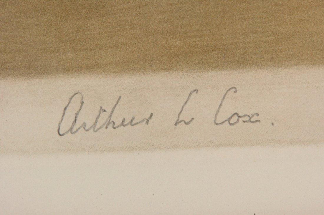 VERY LARGE ARTHUR L. COX PENCIL SIGNED MEZZOTINT - 6