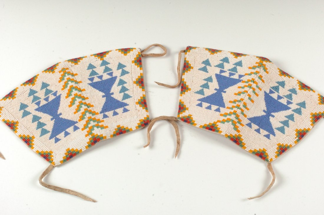 A PAIR OF CREE BEAD WORK CUFFS