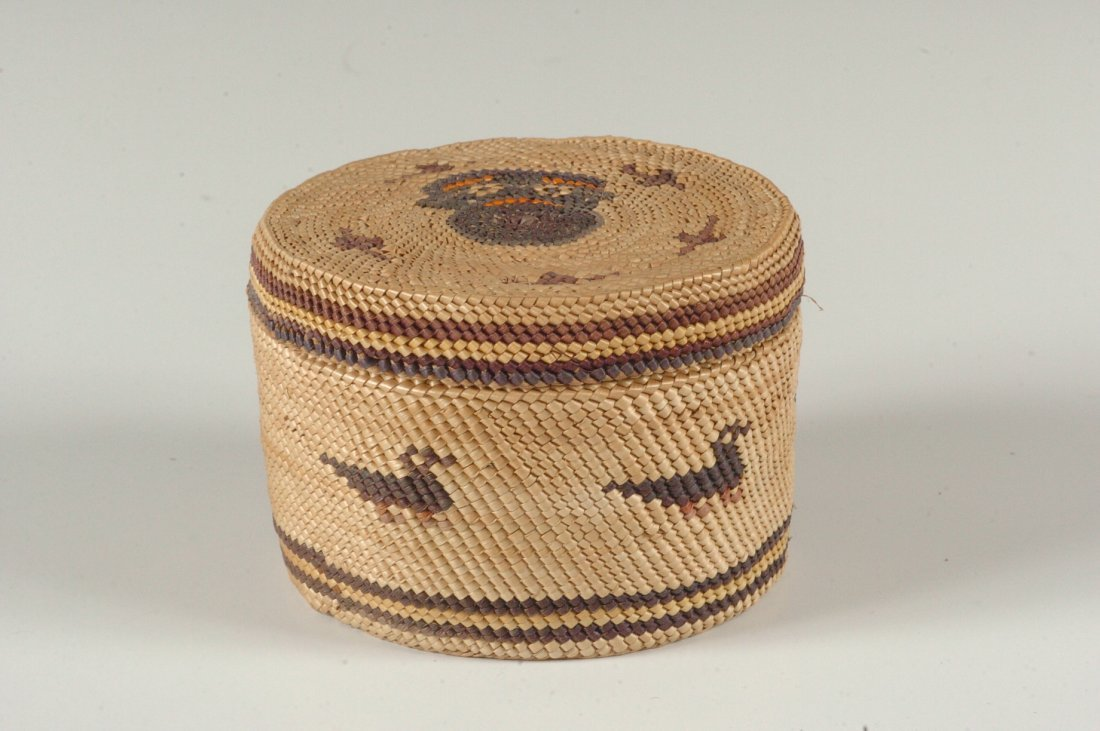 A NORTHWEST COAST NOOTKA COVERED BASKET