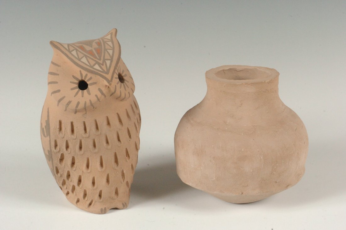 A JEMEZ POTTERY FIGURE OF AN OWL, PLUS ANOTHER