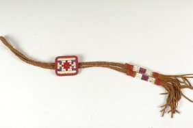 A CHEROKEE QUILLED AND BEADED BOLO TIE