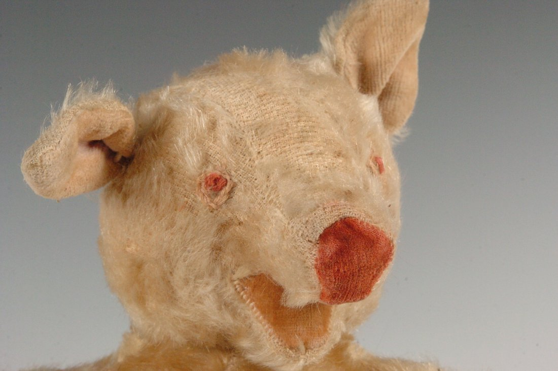 ANTIQUE MOHAIR PIG WITH EXCELSIOR