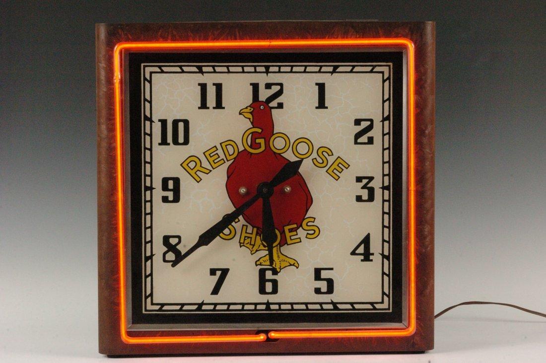 UNUSUAL C. 1930s RED GOOSE SHOES NEON CLOCK