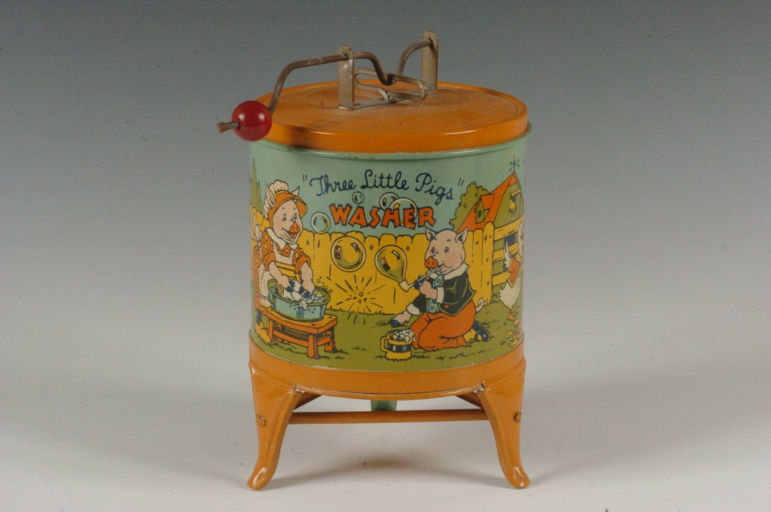 THREE LITTLE PIGS TIN LITHO WASHER BY CHEIN