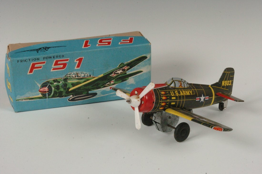 SY JAPAN TIN FRICTION F-51 FIGHTER PLANE
