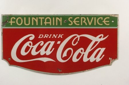 COCA-COLA FOUNTAIN SERVICE PORCELAIN ENAMEL SIGN