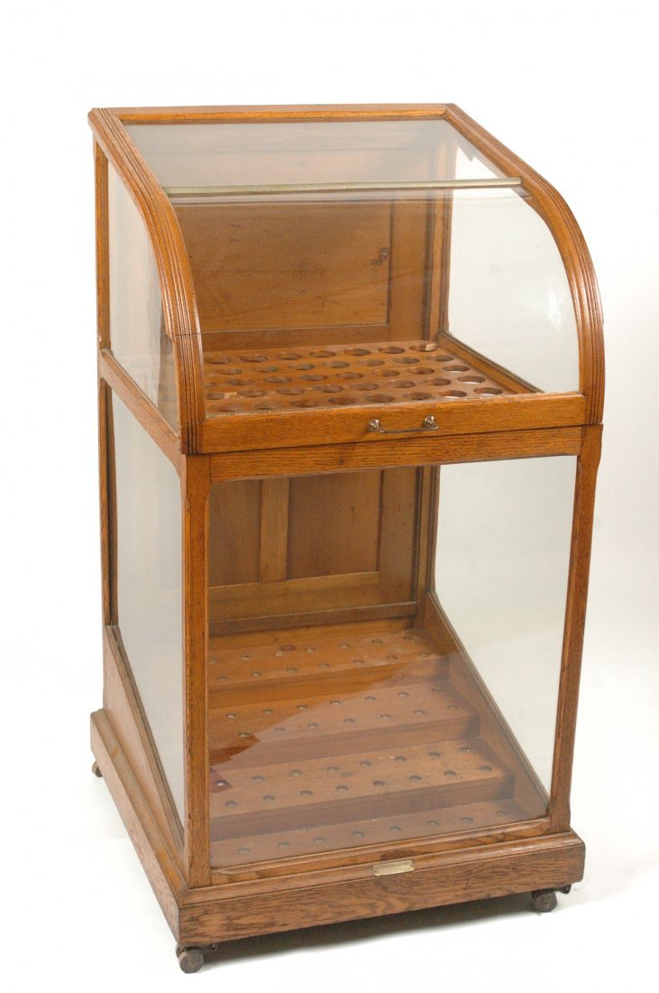 ANTIQUE OAK WALKING STICK AND CANE DISPLAY CASE