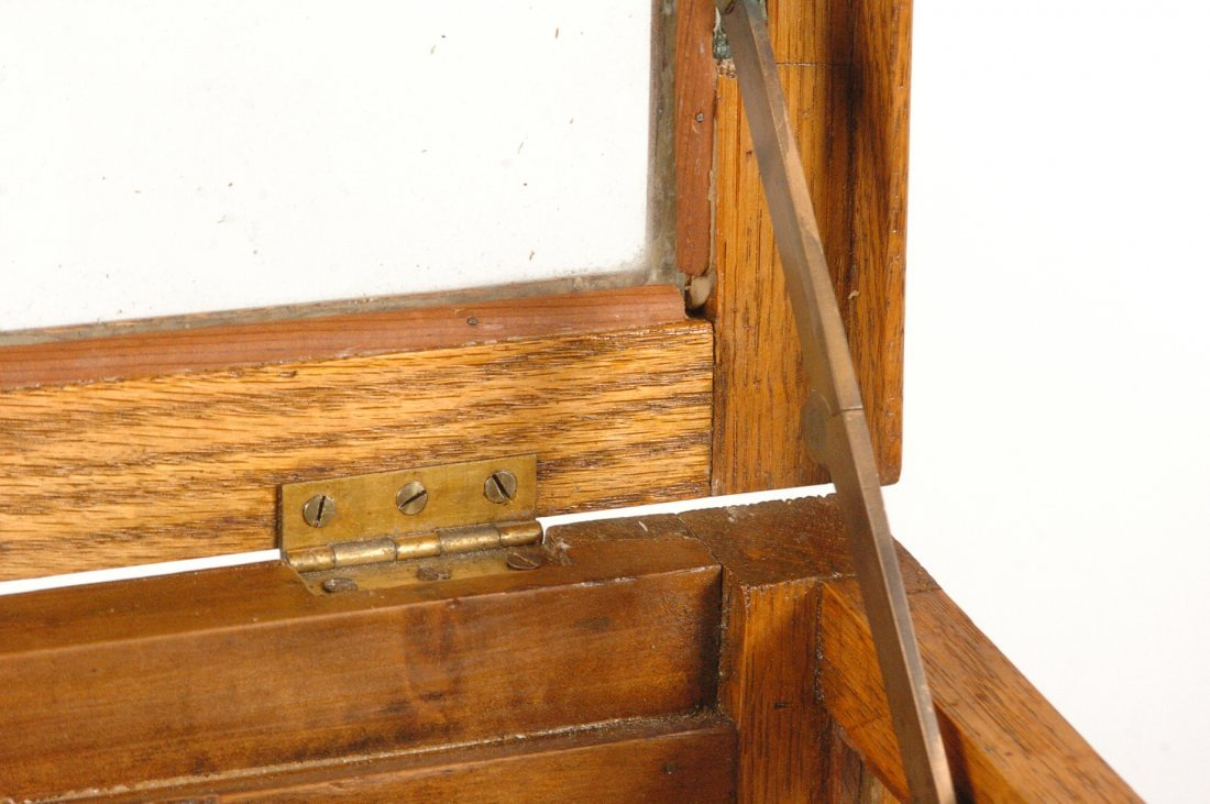 ANTIQUE OAK WALKING STICK AND CANE DISPLAY CASE - 5