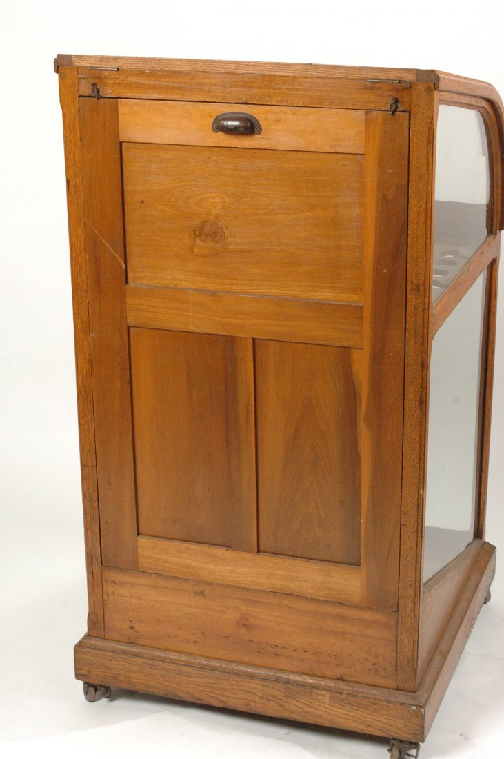 ANTIQUE OAK WALKING STICK AND CANE DISPLAY CASE - 9