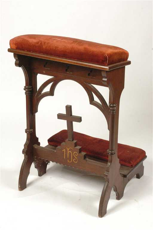 Victorian Walnut Prayer Bench With Gothic Arches