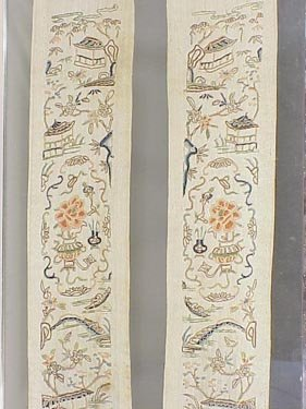 123: Pair of embroidered Chinese cuffs