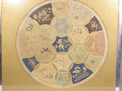 126: Pair of round embroidered Chinese panels