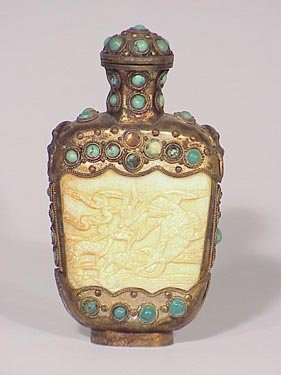 129: Carved bone snuff bottle