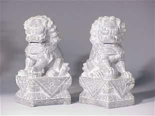 Pair stone Foo Dogs